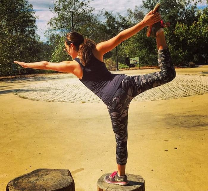 Lea Michele exercising