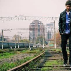sad boy walking