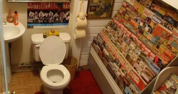 reading materials in the bathroom