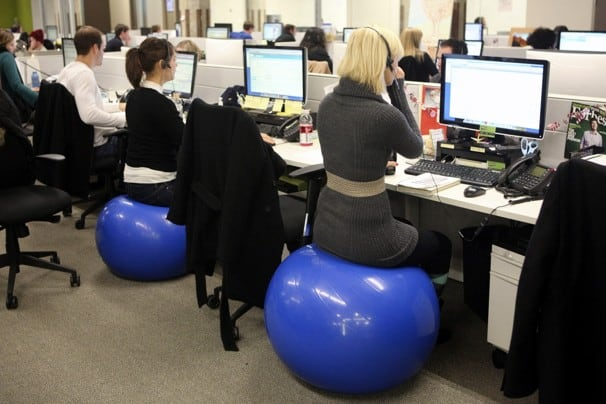 people uses Exercise Ball as an Office Chair