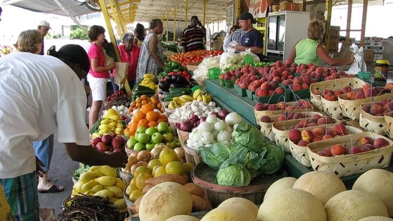 people buying local foods