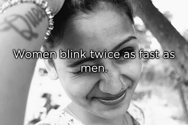 a woman blinking her eyes