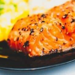 cooked salmon in a plate