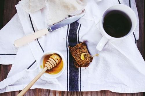 coffee. honey, bread