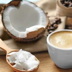 coffee, coffee beans and coconut