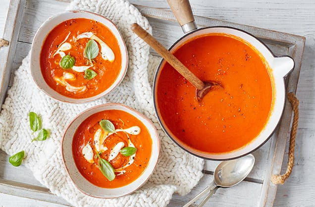 tomato soup in the bowls