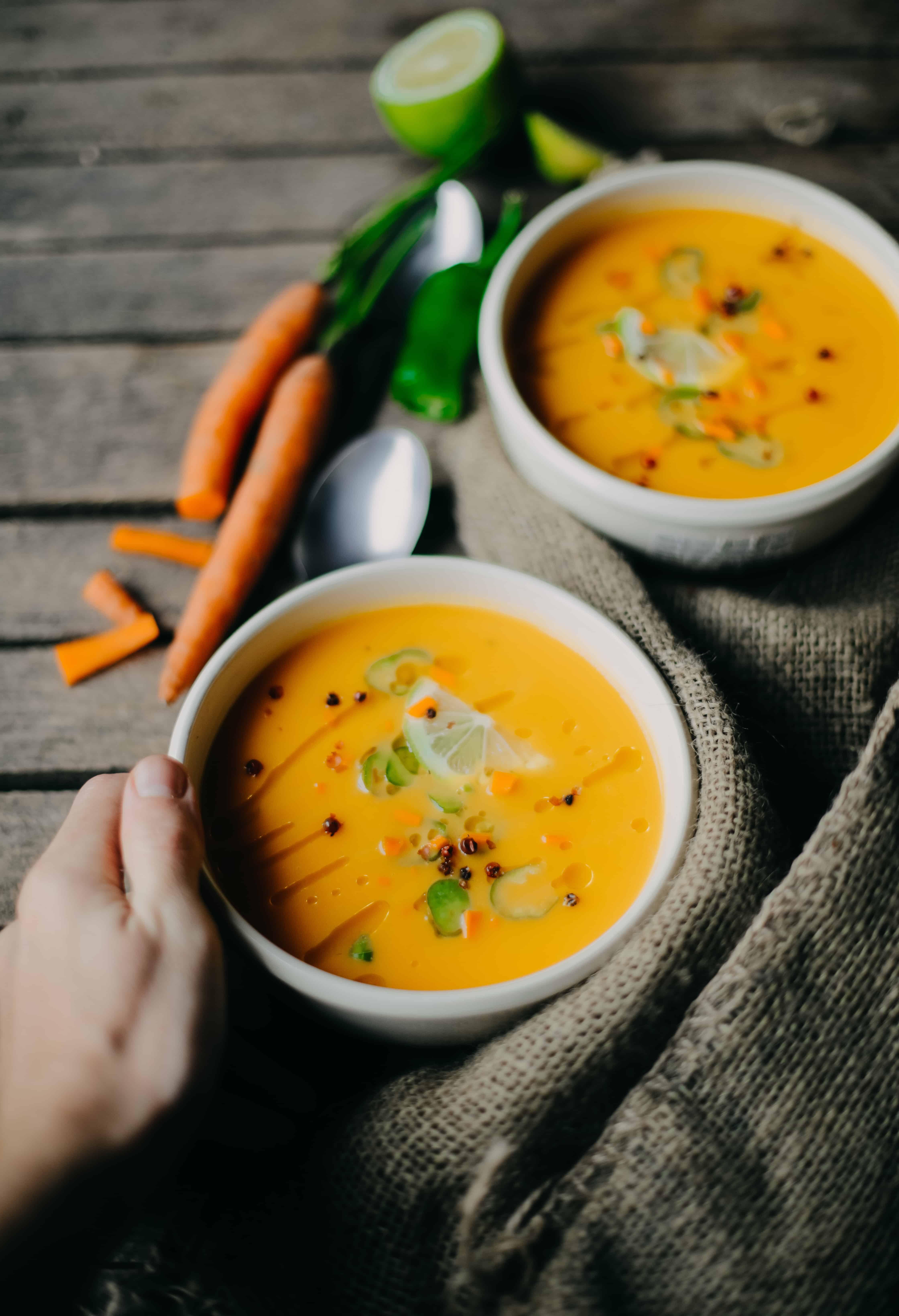 a bowl of turmeric carrot soup