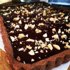 rectangular vegan chocolate tart