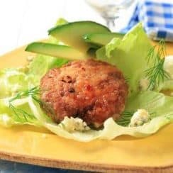 ground chicken with avocado slices and lettuce