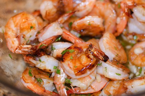 grilled shrimps with honey