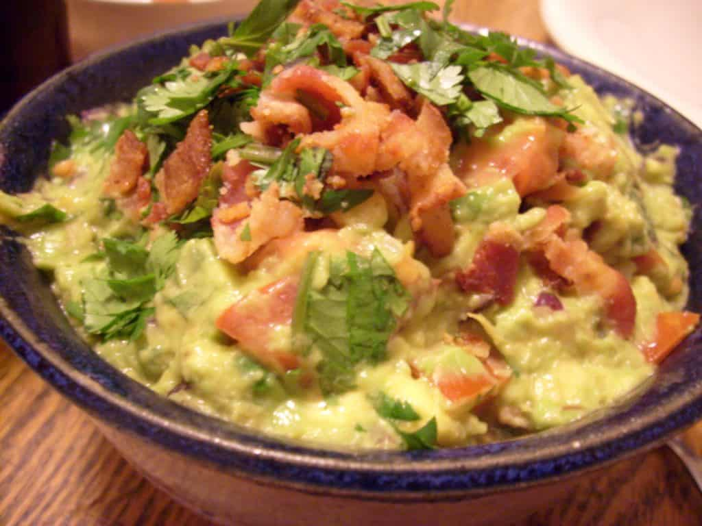 a bowl of bacon guacamole