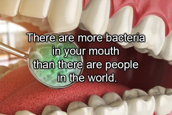 mouth with bacteria